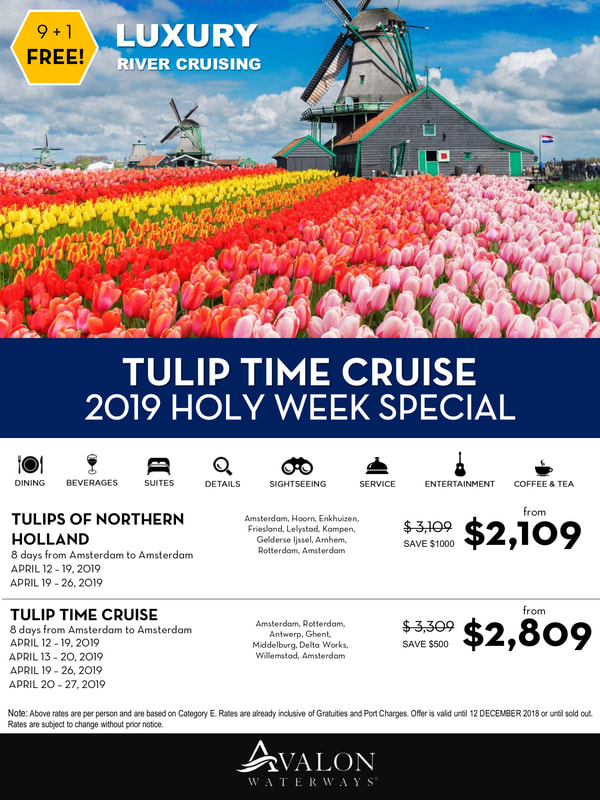 Picture of tulips and windmills, 9+1 Free sailing on Avalon, special price for individuals, sails in April 2019