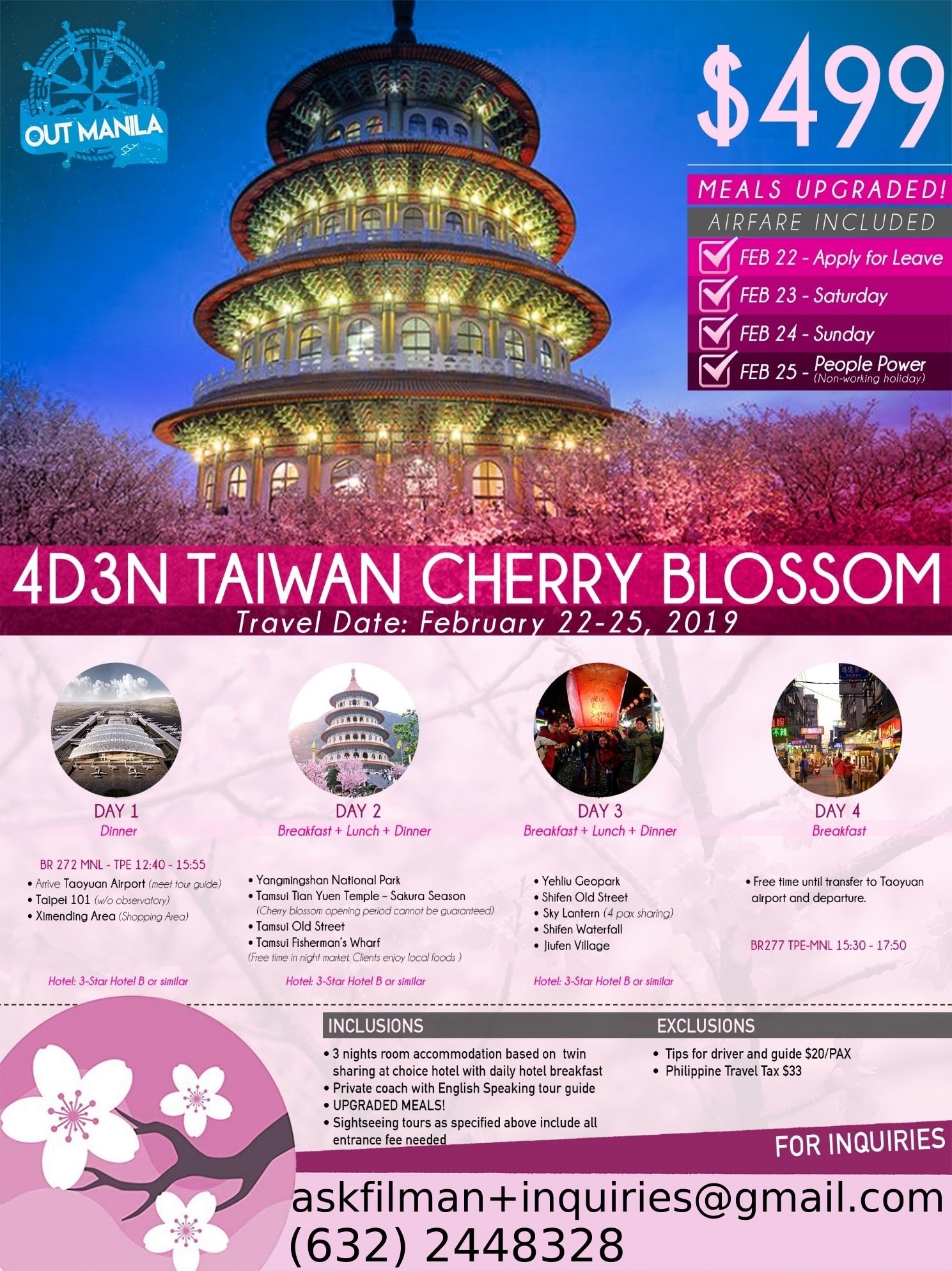 2019 4 Days 3 Nights Taiwan Cherry Blossom - FILMAN TRAVEL CENTER, INC