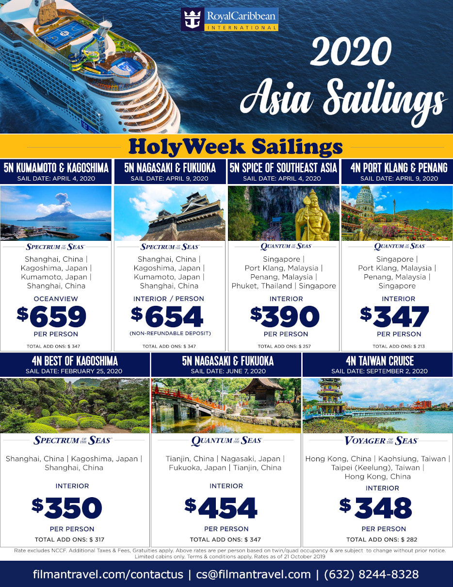 2020 Asia Sailings Royal Caribbean Cruise Line flyer