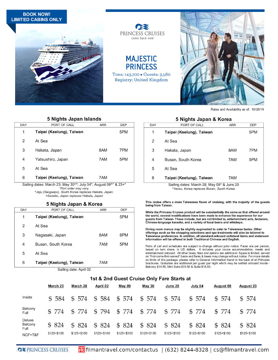 flyer image for japan taiwan cruise onboard majestic princess 2020 march to August