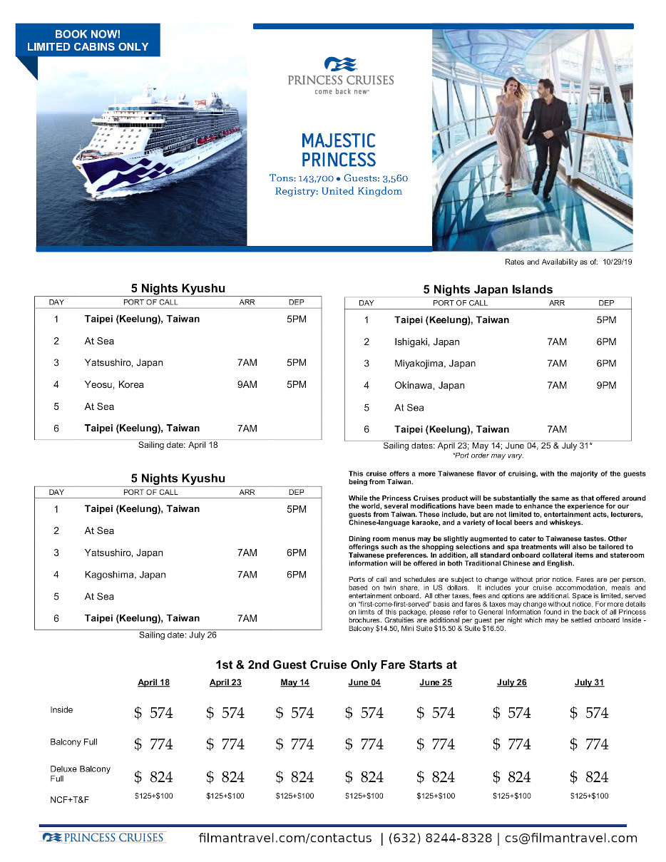 flyer image for cruise onboard majestic princess april to july 2020