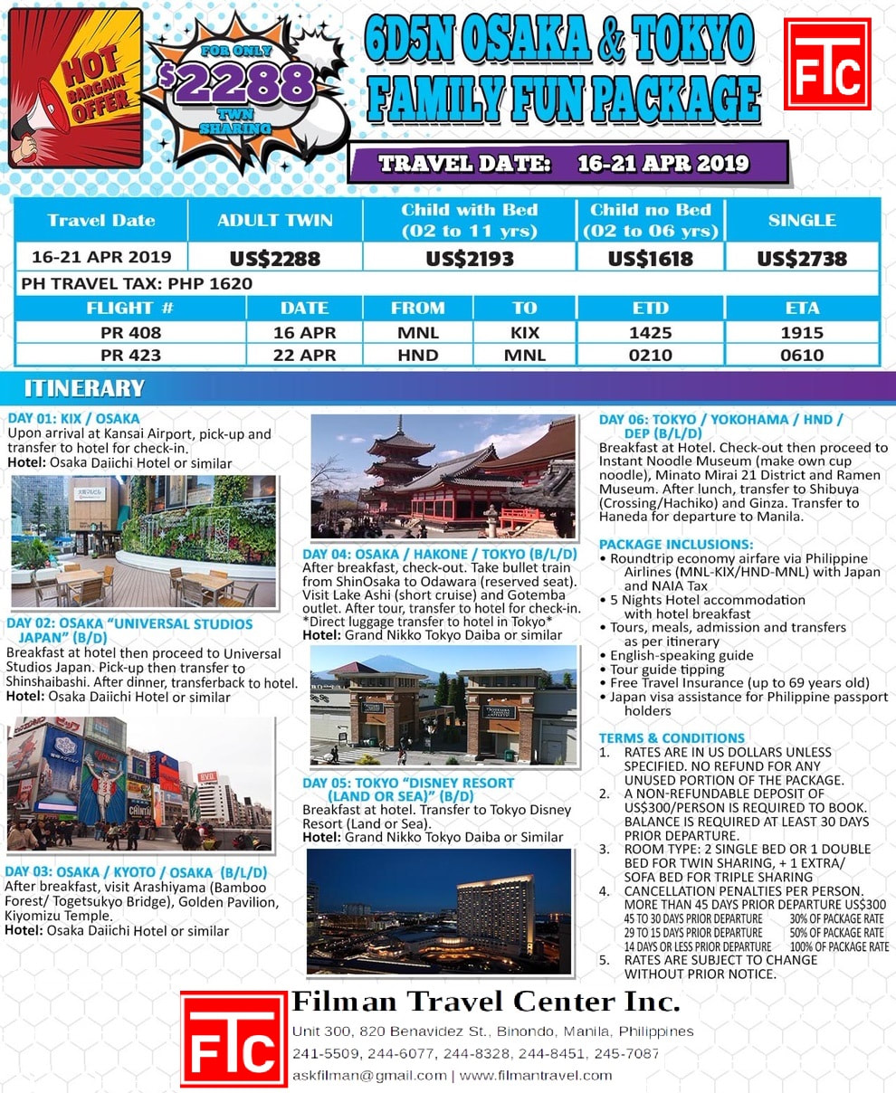 Flyer with details for 6 Days 5 nights osaka tokyo family fun package for holy week $2288 twin sharing, april 16-21 from manila 2019