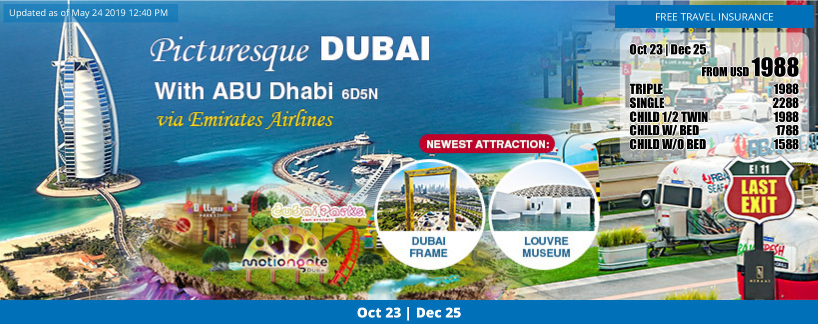 Dubai 6 days tour 2019 Dec 25 flyer, click for detailed itinerary jpg file
