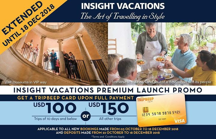 image of insight vacations premium launch promo extended until December 18th, 2018.  Get a tripbeep card upon full payment.